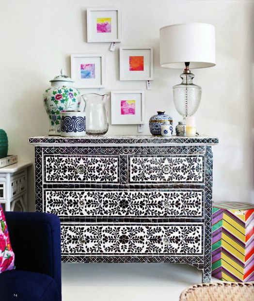 Beautiful bone inlay chest of drawers
