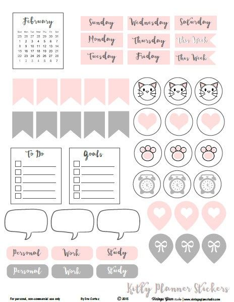 Kitty-Planner-Stickers - Free printable pdf download available for your personal planner use.