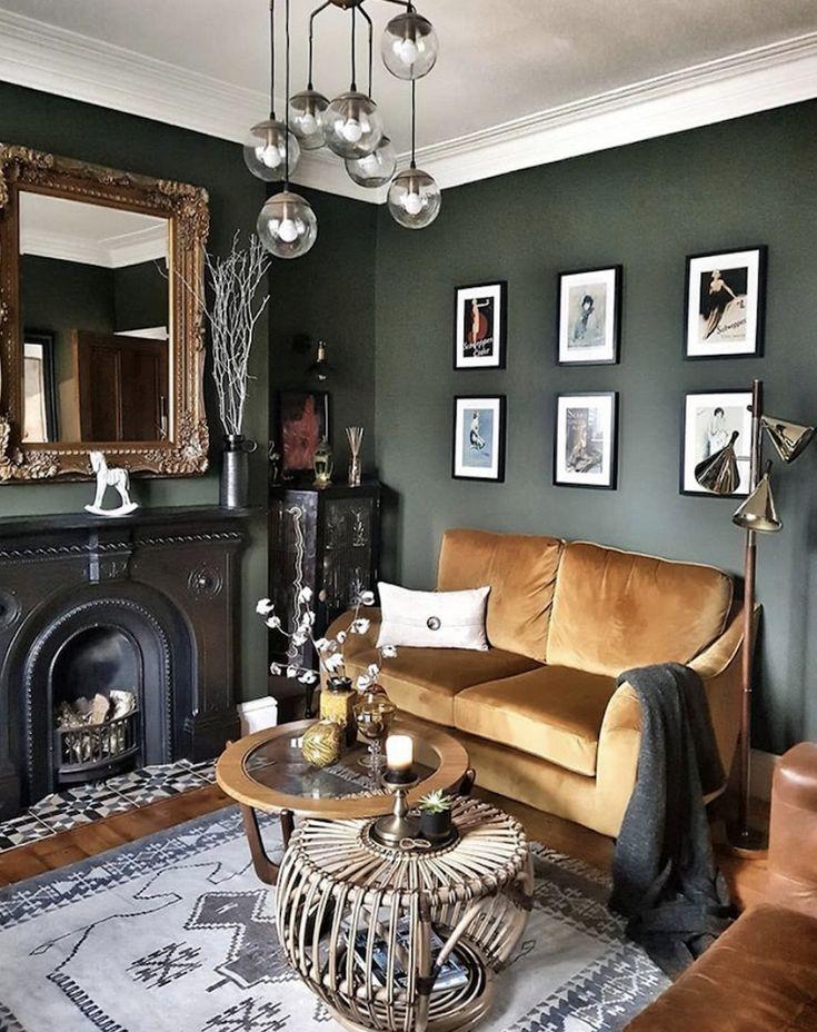 ️ 98 beautiful dark green living room wall design ideas 39