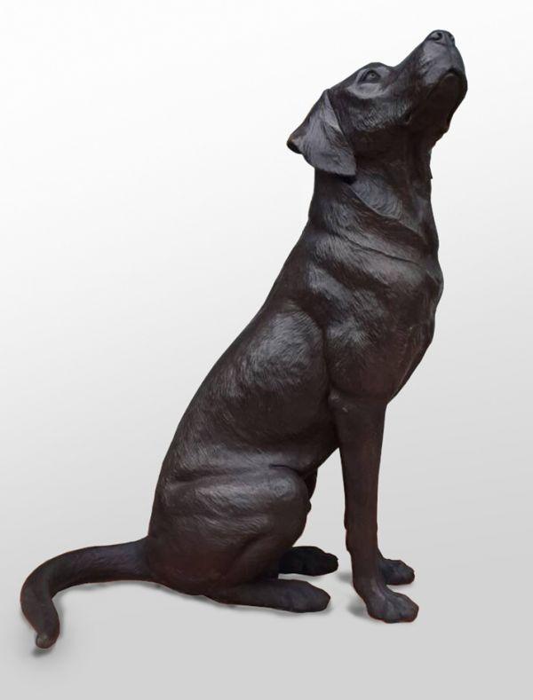 Bronze Dog sculpture by artist David Cemmick titled: 'Faithful Friend Labrador (bronze life size Black dDog sculptures/statue)'