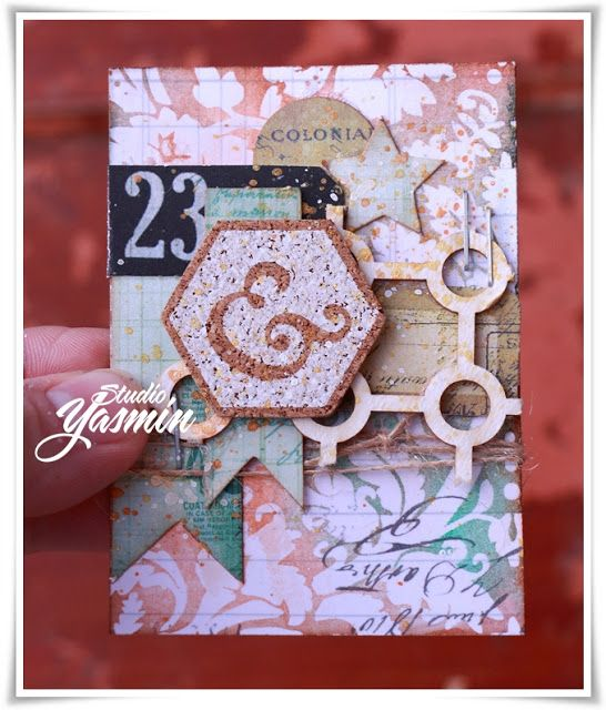 Studio Yasmin - ATC made with 7dots Studio embellishements and Crafty Moly Chipboard. 1 of a set of 4.