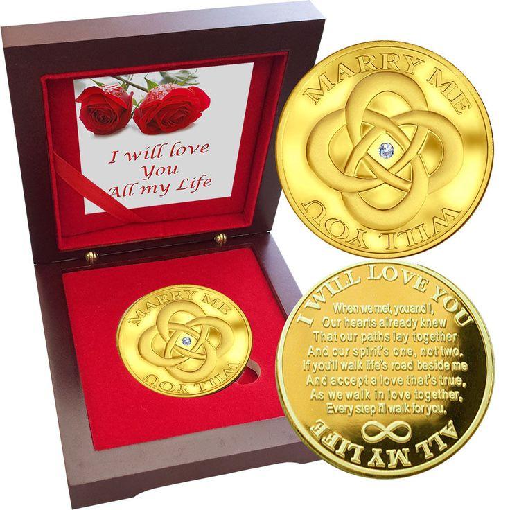 Valentine Coin MARRY ME Swarovski Gem 1 oz Gold layer Proof Silver Bullion Love