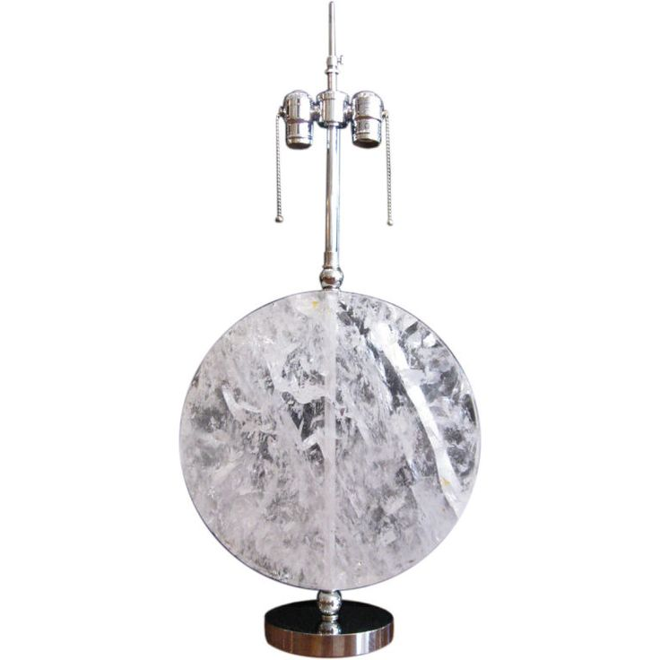 SINGLE ROCK CRYSTAL AND CHROME TABLE LAMP