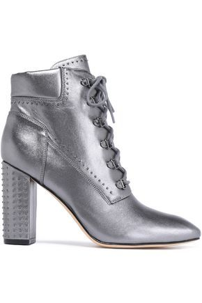 2c87d48f1e ShopStyle Collective Ankle boots Leather Studded Square toe Embellished  heel Lace-up front Leather lining