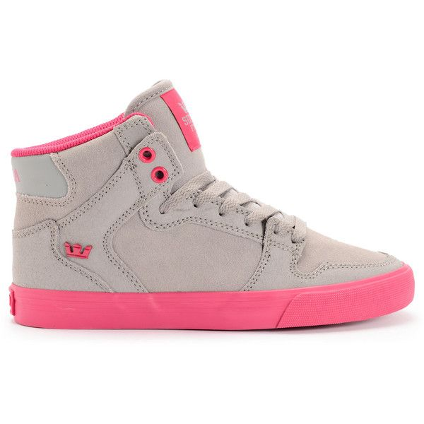 Supra Womens Vaider Grey Suede Magenta Shoe ($85) ❤ liked on Polyvore featuring shoes, grey shoes, gray suede shoes, gray high tops, gray high top shoes and supra shoes