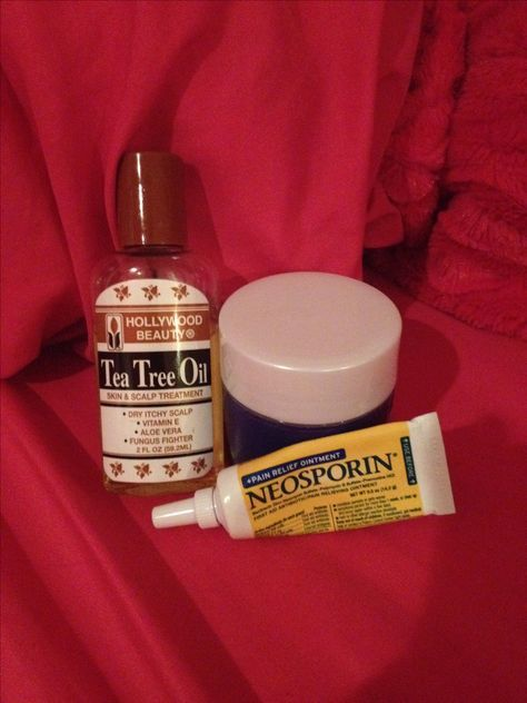 Okay everyone, I have concocted a MIRACLE skin ointment. I am so in love with this. Neosporin (anywhere) and tea tree oil (mine is from walmart!) mix them together in a small container and apply every night after your regular skin care regimen. I use Olay face wash, and I use Neutrogena spot treatment 3in1 on my forming pimples now. Let it dry, and then, I apply this in a generous coat over all dry skin, forming and existing pimples, scabs, and/or eczema ! I do this every night and I LOVE…