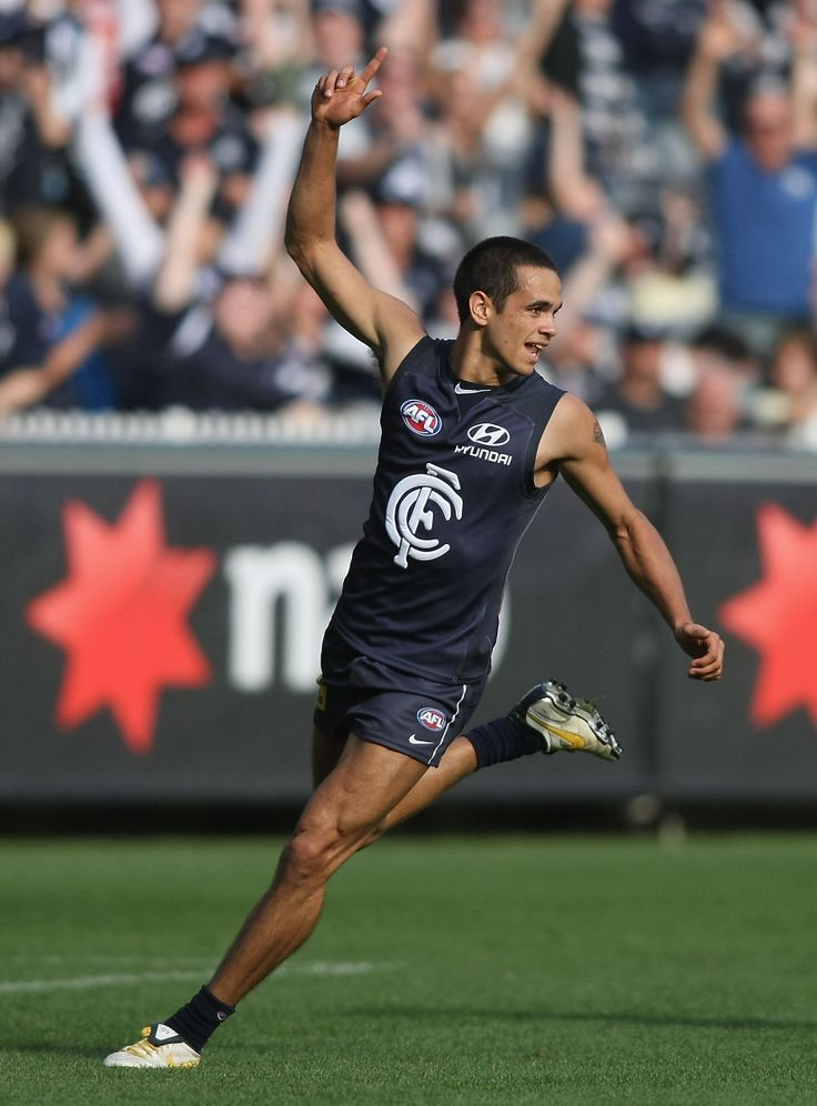 Jeff celebrates after a goal during the Round 5, 2010 match against the Cats at the MCG. (Photo: Andrew White/AFL Media)