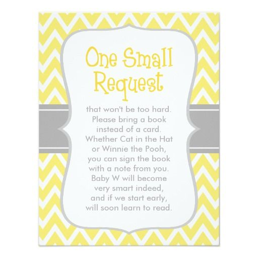 Baby Shower Book Request | Yellow And Gray 4.25x5.5 Paper Invitation Card