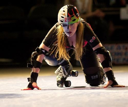 Rettig skating with Grave Danger, Rat City Rollergirls. Photo Michael Coyote. #facepaint
