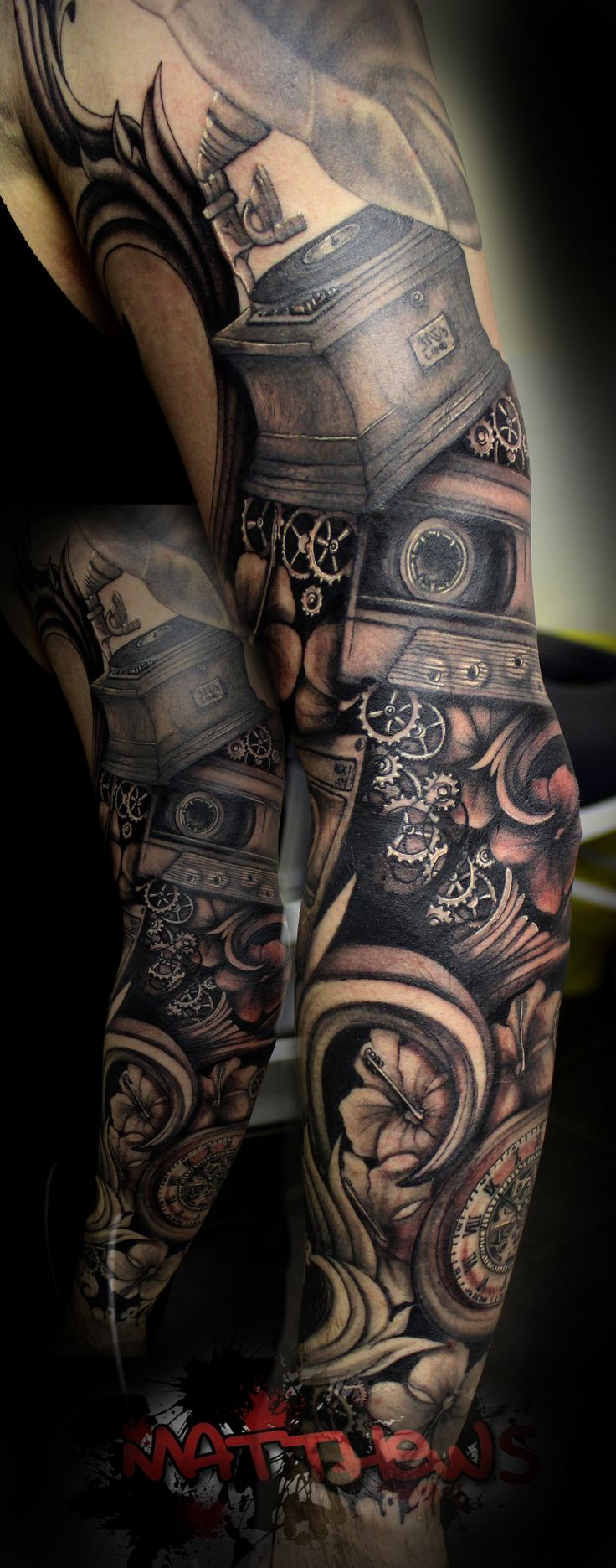 Custom black and grey sleeve   Proudly sponsored by Body Shock tattoo supplies.