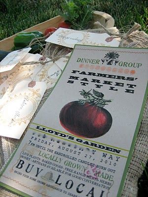 from farm to table dinner invitation delivered in burlap bags