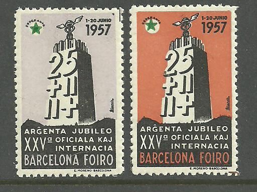 Barcelona 1957 Fair, Esperanto cinderellas. On the middle of the stamp there can be seen the geographical shape of our city with the two mountains (Tibidabo and Montjuļc)and the plane in-between