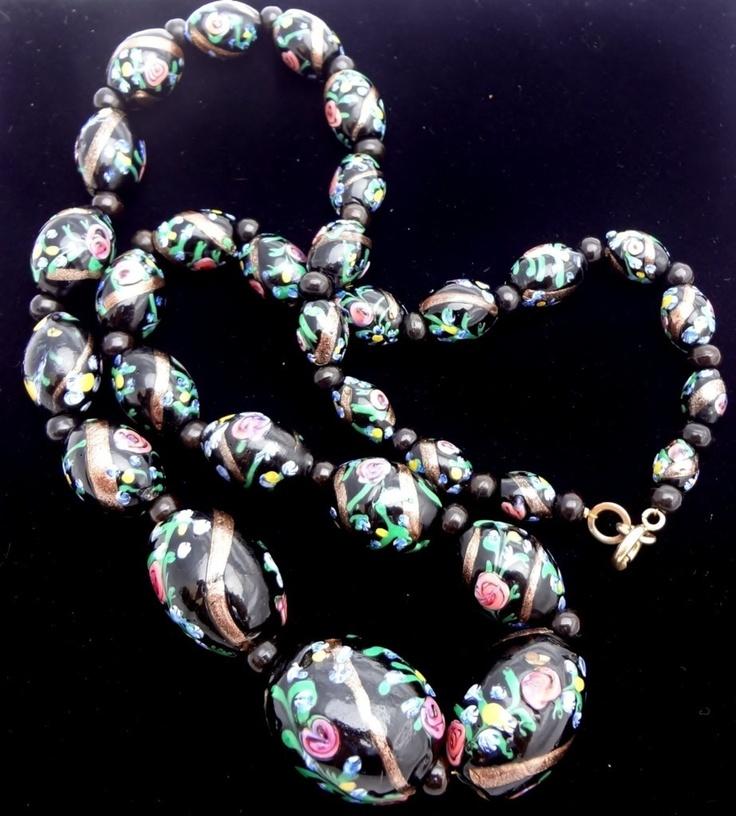Murano Lampwork Wedding Cake Venetian Glass Black Foiled Bead Vintage Necklace | eBay