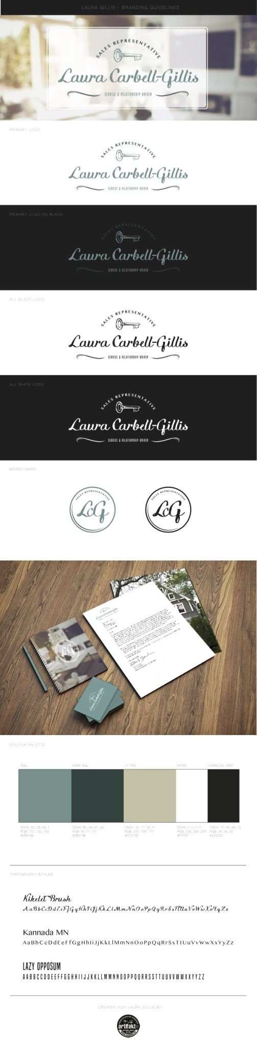 The completed branding guidelines we did for 'Laura Gillis', a real estate agent in Ontario's Niagara region.