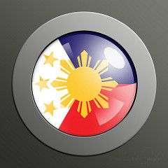 Philippine Flag Button (Jéson) Tags: blue sunset shadow red wallpaper sun white abstract color art texture colors yellow metal photoshop painting circle logo lights star 3d artwork shiny colorful pattern screensaver metallic edited background flag philippines craft bubbles wallart clip elements round button colored effect tutorial pinoy layered