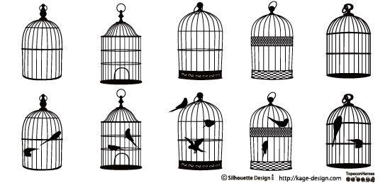 鳥かごの鳥シルエットアイデア。