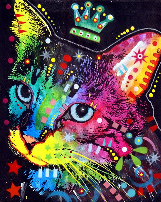 animals mixed media canvas prints thinking cat crowned canvas print by dean russo - Dean Russo