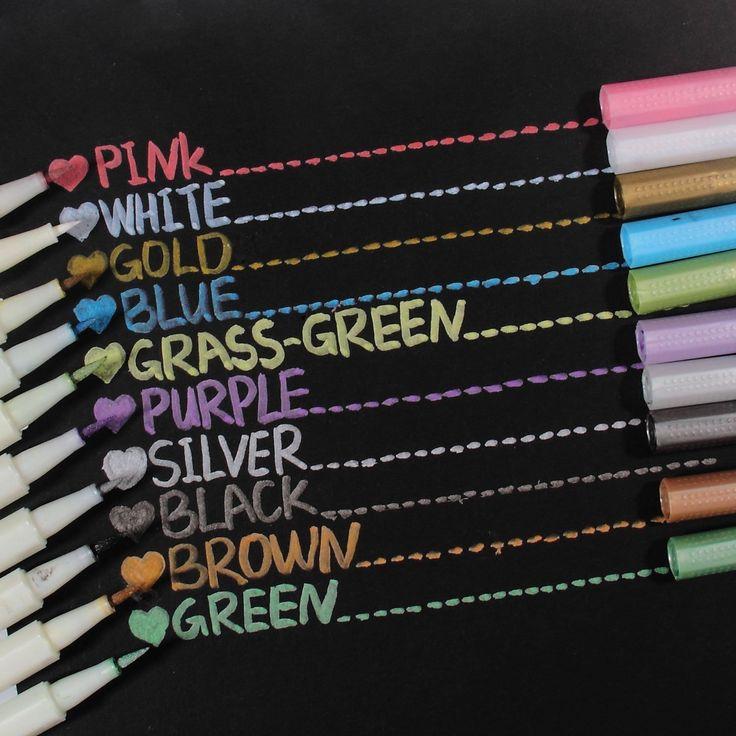 Metallic Markers Glitter Paint Pen Calligraphy Brush Pens