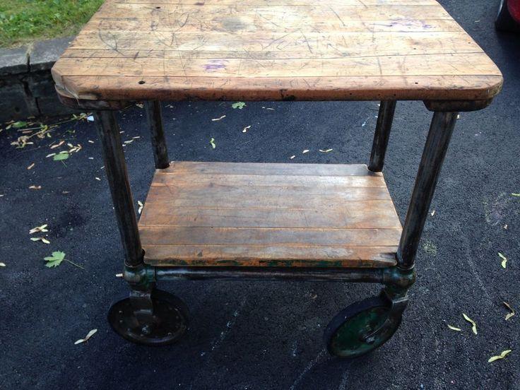 Industrial Cart Steampunk Unique Piece Of Furniture Kitchen