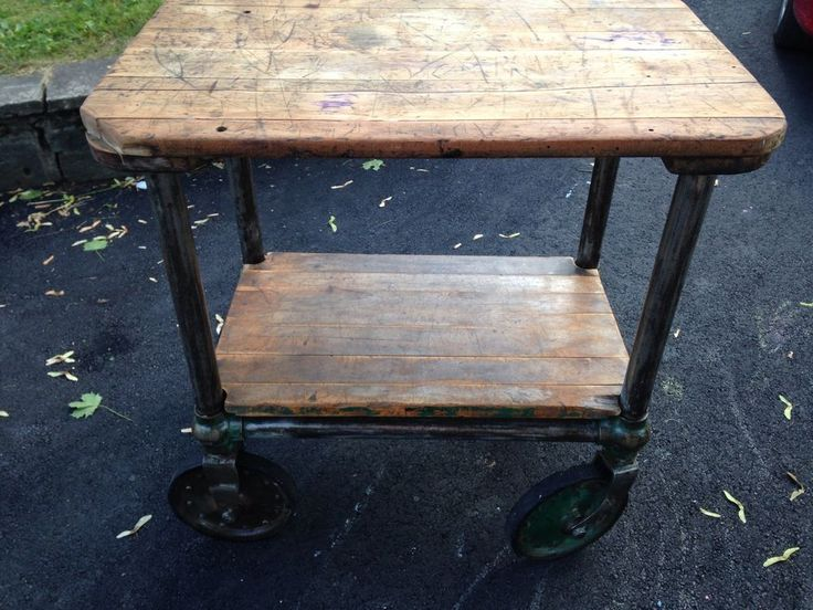Industrial cart steampunk unique piece of furniture for Steampunk kitchen accessories