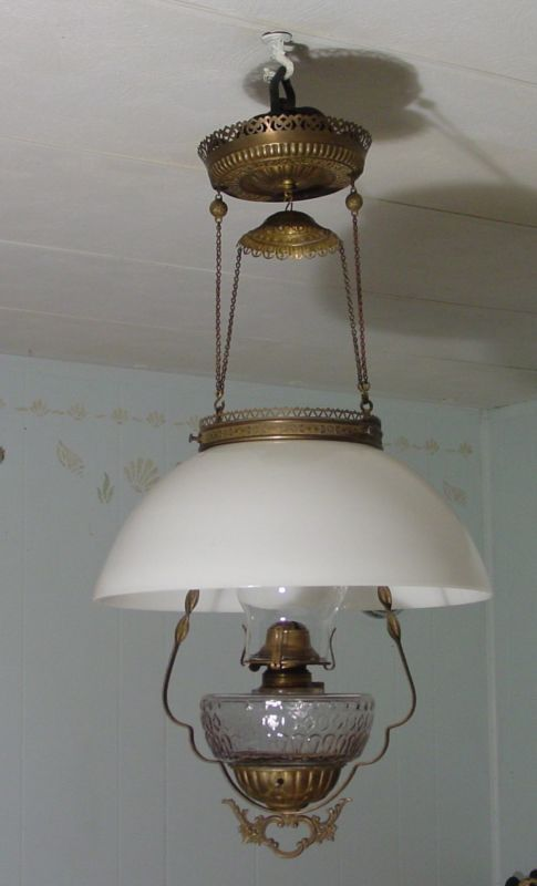 Antique Brass Victorian Retractable Hanging Oil Lamp