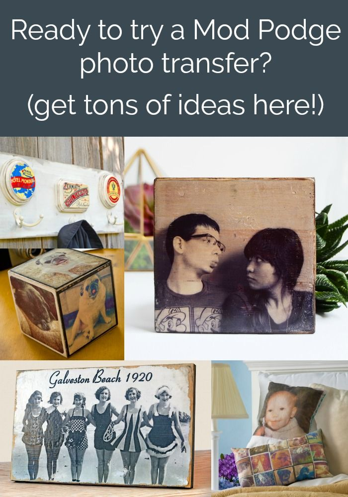 Are you interested in trying a craft with Mod Podge Photo Transfer? Check out this archive of 50 DIY projects. Use photos and graphics to personalize just about anything including wood, canvas, fabric, tin, glass, and more!