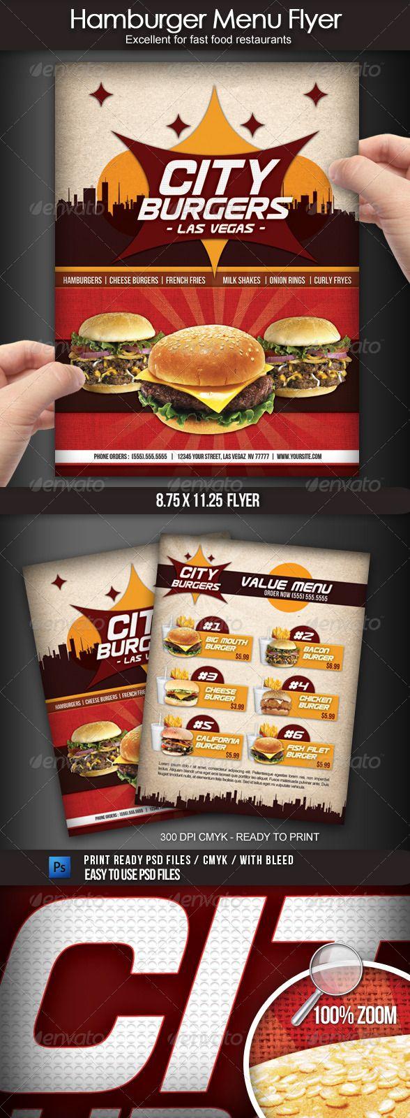 Hamburger Restaurant Menu Flyer