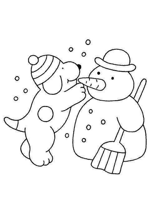 kleurplaat Winter - Dribbel maakt sneeuwpop