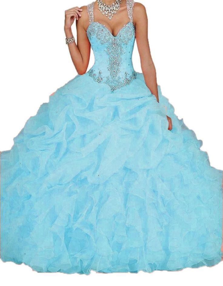 Ikerenwedding Women's Spaghetti Beading Pearls Sheer Back Ball Gown Quinceanera Dresses Bule US06