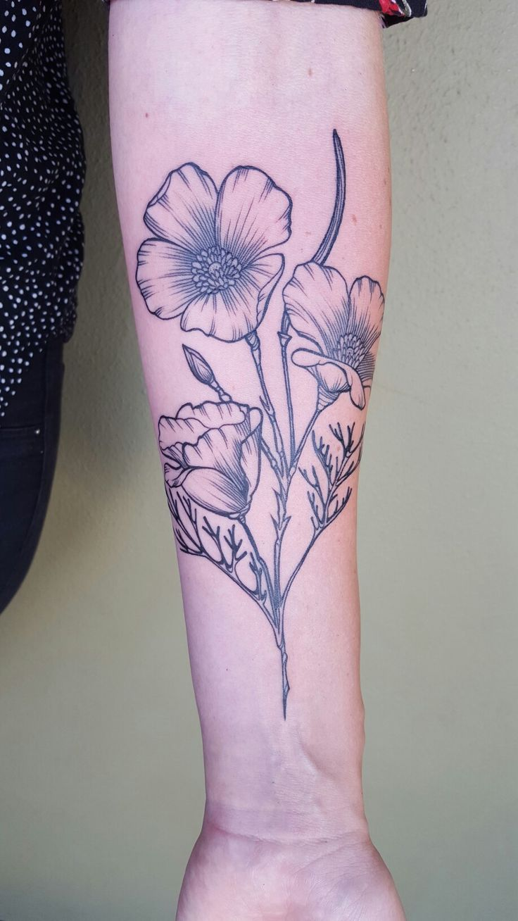 California poppy tattoo by Sara Fabel