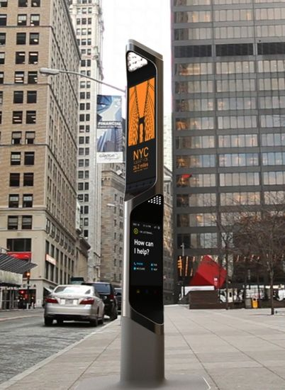 NYC Beacon - Payphone concept by Frog Design: By incorporating the classic look of the payphones, this design fits right in!