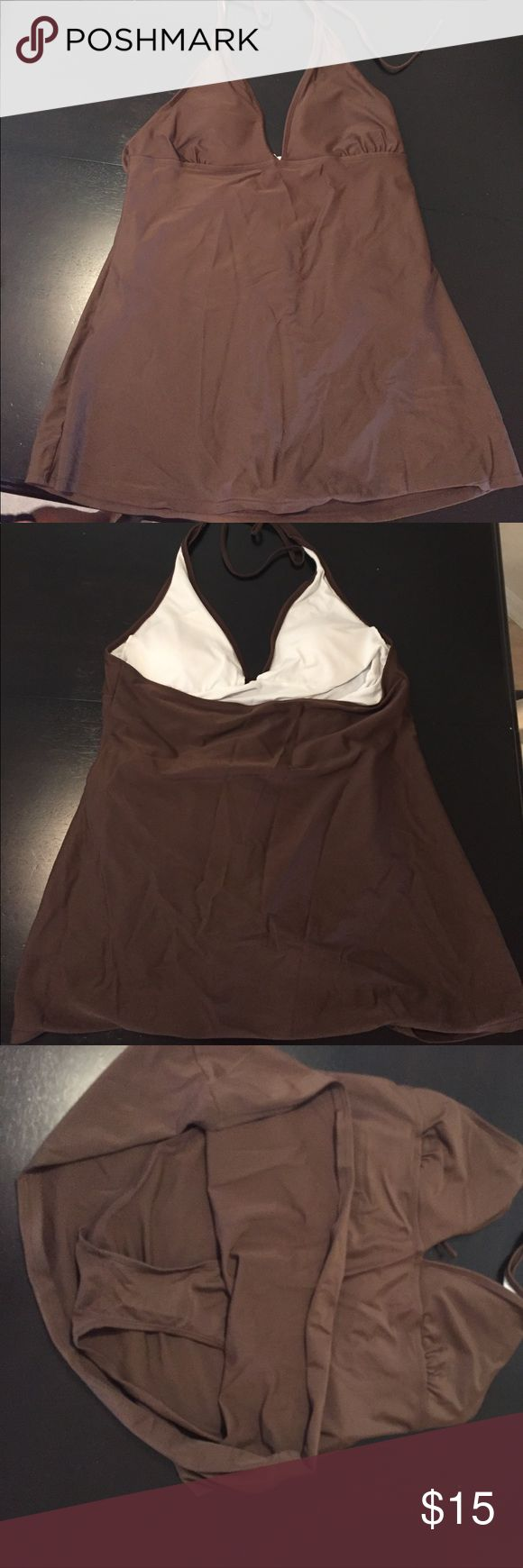 XL Maternity One Piece Bathing Suit Brown V-neck top with a skirt covering the bottom portion. Swim One Pieces