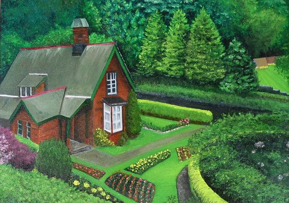 Enchanted Cottage,  giclee print (it will look just like the original- Scottish cottage, surrounded by lush green gardens