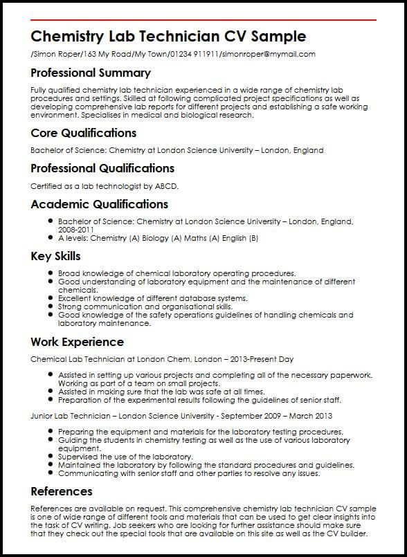 Cv Template Science Lab Technician Chemistry Labs Medical Lab Technician