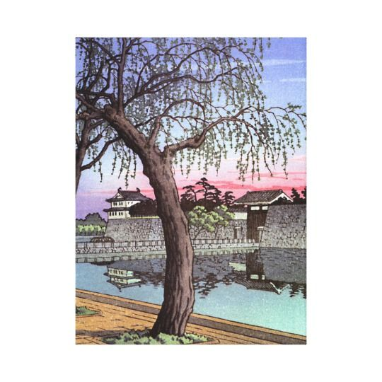 Japanese wall art is incredibly beautiful especially anything that has geishas, cherry blossoms, japanese friendship gardens and bridges.  I particularly love some of the japanese wall fans and other oriental wall art available. Cool oriental japanese sunset watercolour painting canvas print