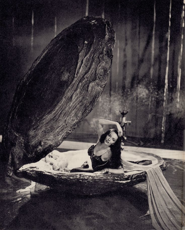 Ludmilla Tcherina in giant clam from the film's tie-in book THE TALES OF HOFFMANN 'A Study of the Film' by Monk Gibbon 1951. (minkshmink)