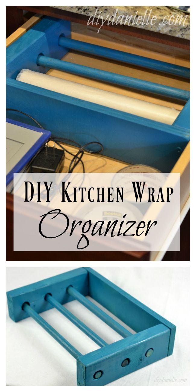 Build a drawer organizer for plastic wrap, aluminum foil, and parchment paper. Save storage space!