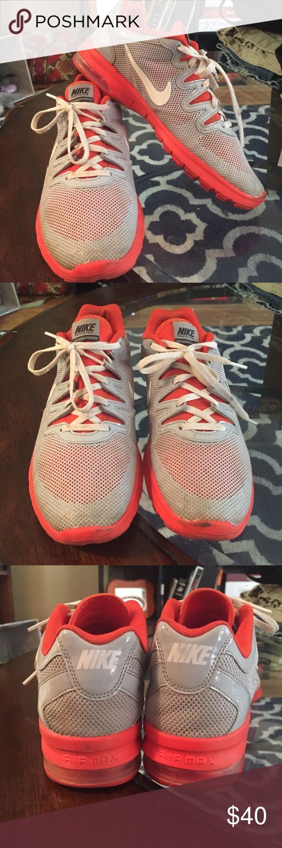Women's Nike Air Max Fusion Size 8 Women's Nike Air Max Fusion - Orange, Grey, and White - Gently loved - No trades, please! Nike Shoes Athletic Shoes