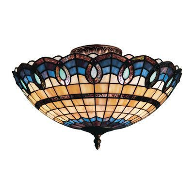 Landmark Lighting Victorian Ribbon 3 Light Outdoor Semi-Flush Mount