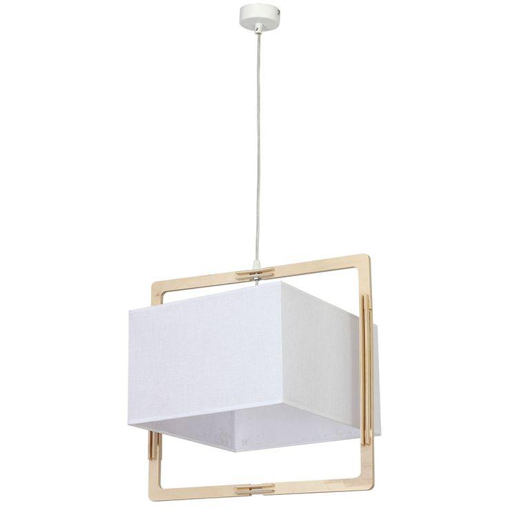 Lampa wisząca zwis Aldex Loki kwadrat 1x60W E27 biała 881G/K hurtelektryczny.pl