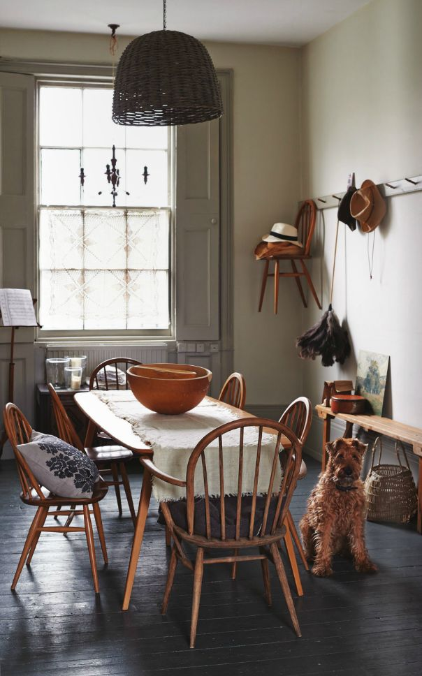 That's it: Ercol plank table and Windsor chairs with carvers on the ends