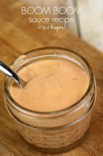 Boom Boom Sauce - INGREDIENTS ¼ cup mayonnaise, 1 Tbsp ketchup,  1 Tbsp sweet chili sauce,  1 tsp garlic powder, ¾ tsp Sriracha