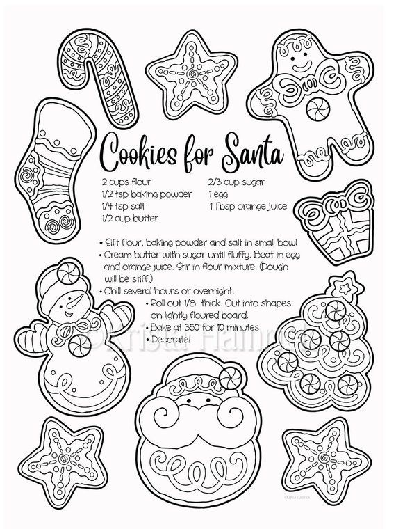 Christmas Cookies A Letter For Santa 2 Coloring Pages For Christmas 8 5x11 In 2021 Santa Coloring Pages Coloring Pages Cross Coloring Page