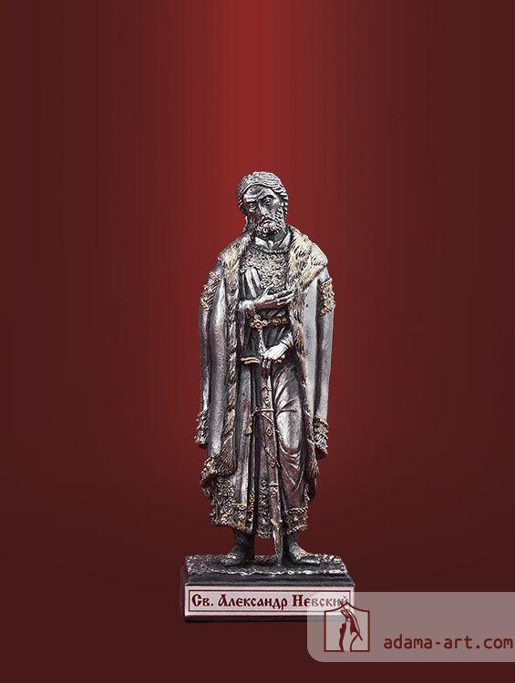 Св. Александр Невский (052t) Чернёное олово Высота статуэтки: 80мм Скульптор: Антон Садик