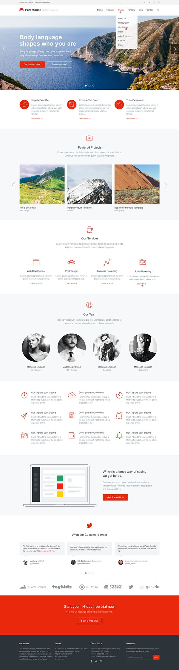 Clean Site Layout | Paramount — Responsive HTML Template on Behance