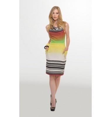Ντραπέ αμάνικο εμπριμέ φόρεμα με τσέπες, 1-303097  colourful dress summer women's fashion