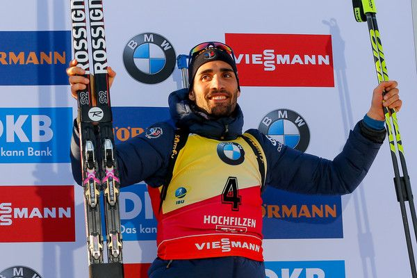Martin Fourcade of France wins the bronze medal during the IBU Biathlon World Championships Men's Sprint on February 11, 2017 in Hochfilzen, Austria.
