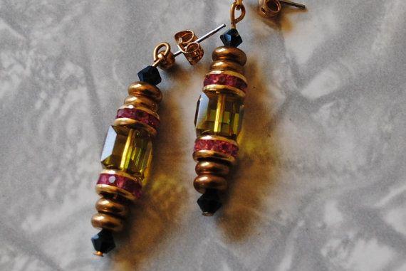 Olivine cube and pink rhinestone earrings