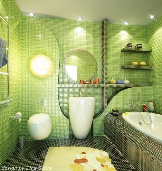 23 Amazing Ideas For Bathroom Color Schemes: Green Bathroom Colors, Green Bathroom Tiles And