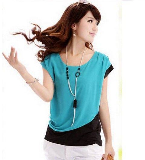 2015 primavera / verano moda gasa Shirt mujeres carrera ronda Casual manga corta blusa de cuello alto en Blusas y Camisas de Moda y Complementos Mujer en AliExpress.com | Alibaba Group